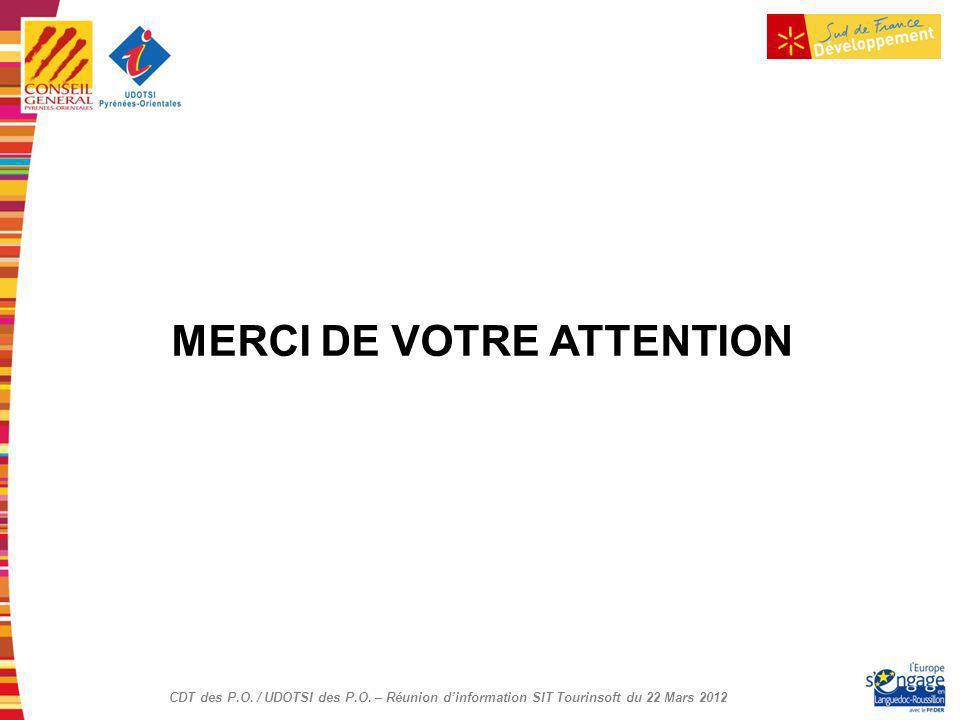 CDT des P.O. / UDOTSI des P.O. – Réunion dinformation SIT Tourinsoft du 22 Mars 2012 MERCI DE VOTRE ATTENTION