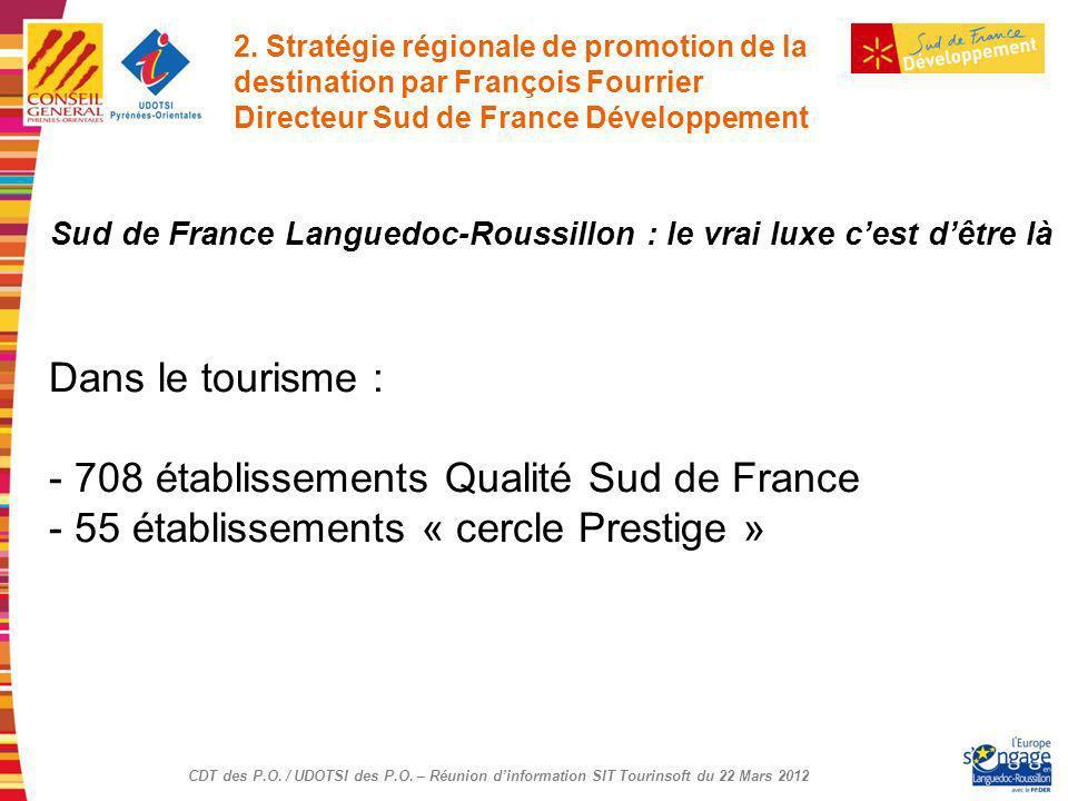 CDT des P.O. / UDOTSI des P.O. – Réunion dinformation SIT Tourinsoft du 22 Mars 2012 Sud de France Languedoc-Roussillon : le vrai luxe cest dêtre là D