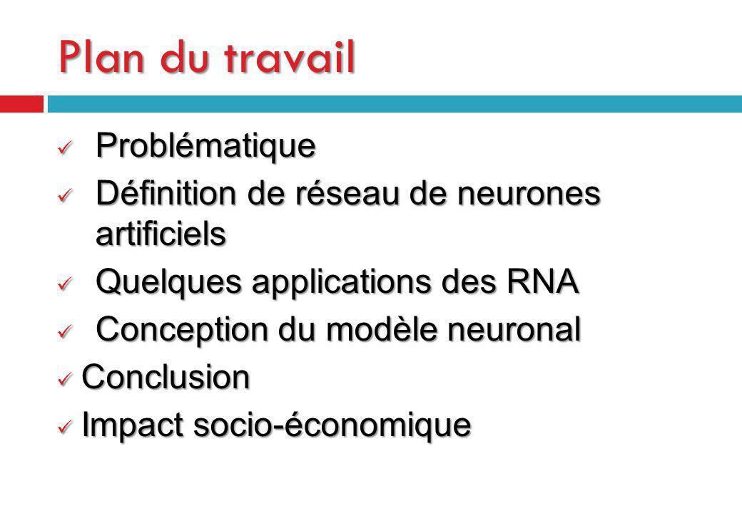 Plan du travail Problématique Problématique Définition de réseau de neurones artificiels Définition de réseau de neurones artificiels Quelques applica