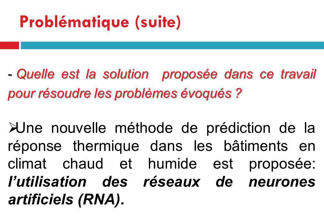 - Quelle est la solution proposée dans ce travail pour résoudre les problèmes évoqués ? Une nouvelle méthode de prédiction de la réponse thermique dan