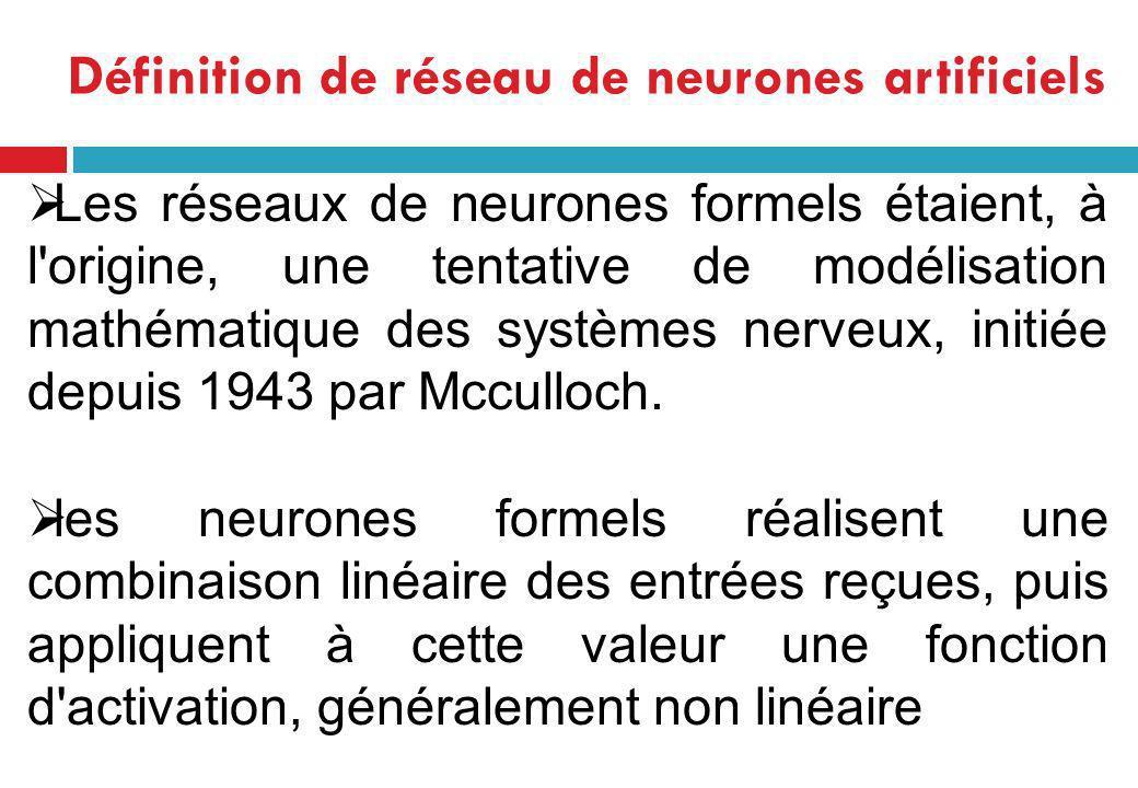 Les réseaux de neurones formels étaient, à l'origine, une tentative de modélisation mathématique des systèmes nerveux, initiée depuis 1943 par Mccullo