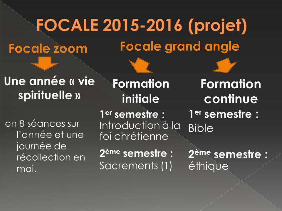 Une année « vie spirituelle » en 8 séances sur lannée et une journée de récollection en mai.