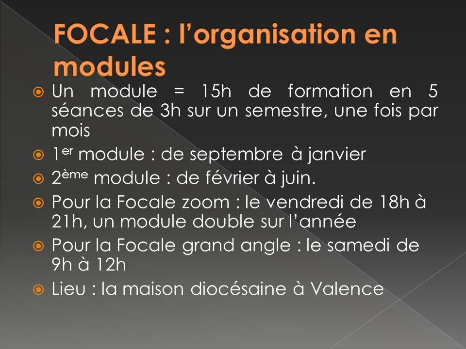 Un module = 15h de formation en 5 séances de 3h sur un semestre, une fois par mois 1 er module : de septembre à janvier 2 ème module : de février à juin.