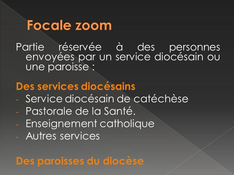 Partie réservée à des personnes envoyées par un service diocésain ou une paroisse : Des services diocésains - Service diocésain de catéchèse - Pastorale de la Santé.