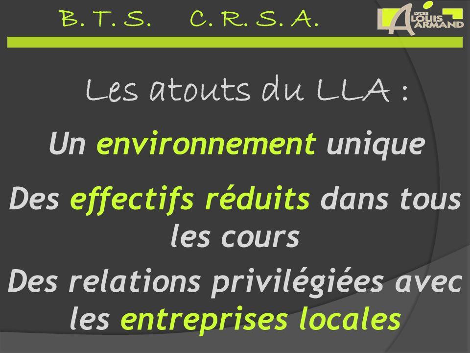 B. T. S. C. R. S. A. Les atouts du LLA : Un environnement unique Des relations privilégiées avec les entreprises locales Des effectifs réduits dans to
