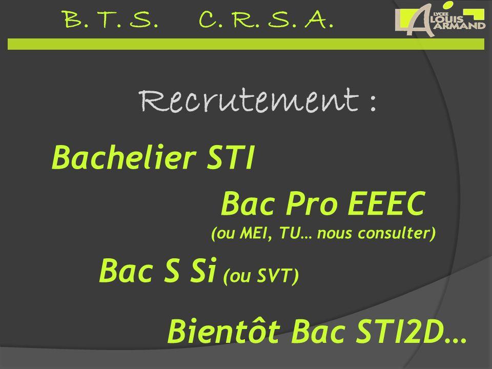 B. T. S. C. R. S. A. Recrutement : Bientôt Bac STI2D… Bachelier STI Bac Pro EEEC (ou MEI, TU… nous consulter) Bac S Si (ou SVT)