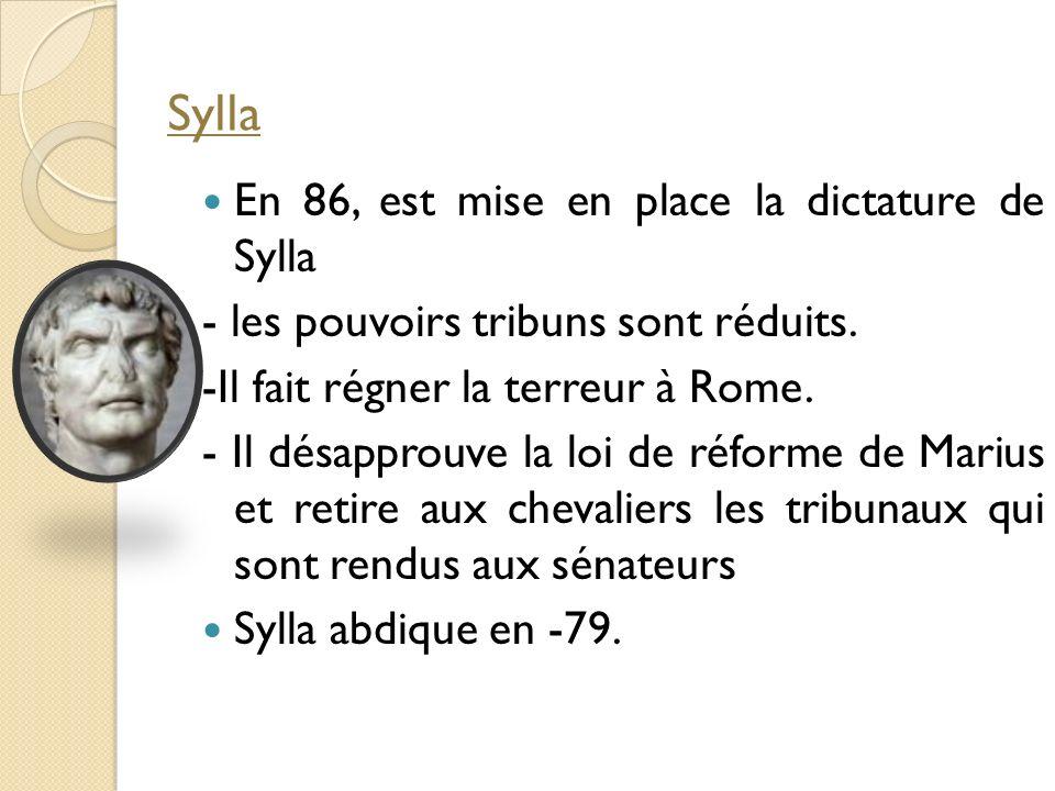 En 86, est mise en place la dictature de Sylla - les pouvoirs tribuns sont réduits. -Il fait régner la terreur à Rome. - Il désapprouve la loi de réfo