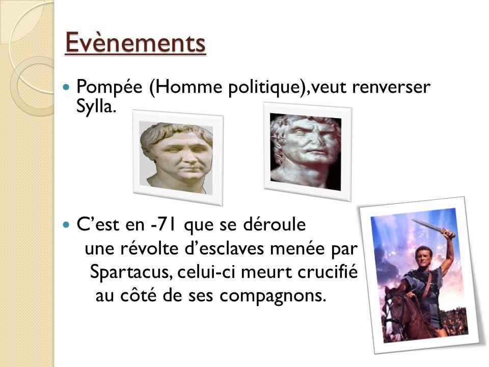 Evènements Pompée (Homme politique),veut renverser Sylla. Cest en -71 que se déroule une révolte desclaves menée par Spartacus, celui-ci meurt crucifi