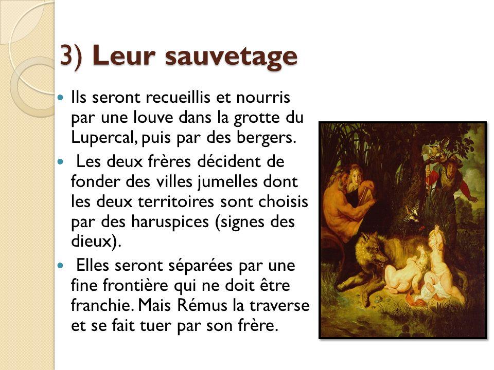 3) Leur sauvetage Ils seront recueillis et nourris par une louve dans la grotte du Lupercal, puis par des bergers. Les deux frères décident de fonder