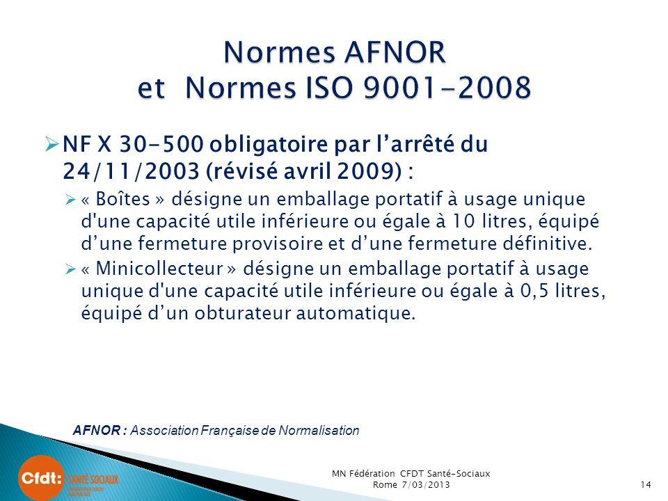 NF X 30-500 obligatoire par larrêté du 24/11/2003 (révisé avril 2009) : « Boîtes » désigne un emballage portatif à usage unique d une capacité utile inférieure ou égale à 10 litres, équipé dune fermeture provisoire et dune fermeture définitive.