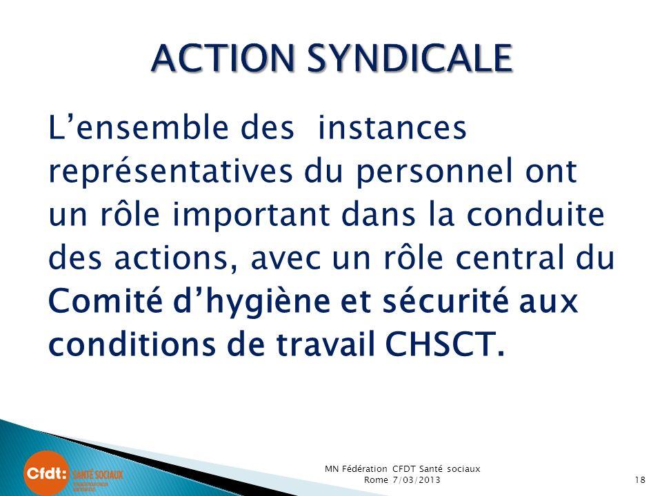 Lensemble des instances représentatives du personnel ont un rôle important dans la conduite des actions, avec un rôle central du Comité dhygiène et sécurité aux conditions de travail CHSCT.