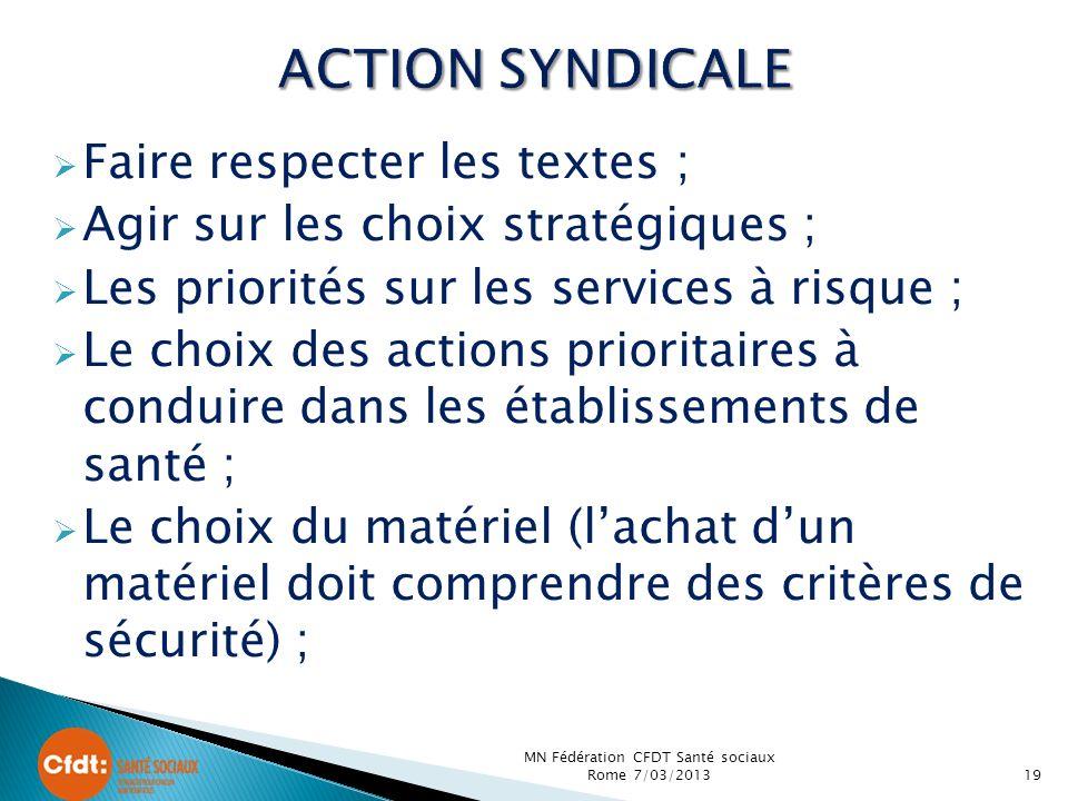 Faire respecter les textes ; Agir sur les choix stratégiques ; Les priorités sur les services à risque ; Le choix des actions prioritaires à conduire