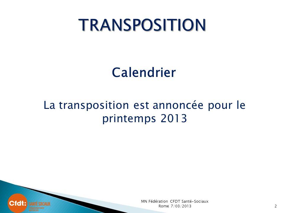 Calendrier La transposition est annoncée pour le printemps 2013 2 MN Fédération CFDT Santé-Sociaux Rome 7/03/2013