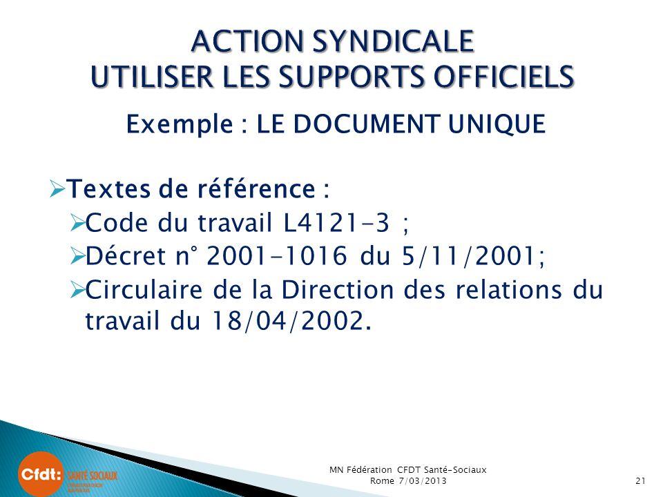 Exemple : LE DOCUMENT UNIQUE Textes de référence : Code du travail L4121-3 ; Décret n° 2001-1016 du 5/11/2001; Circulaire de la Direction des relations du travail du 18/04/2002.