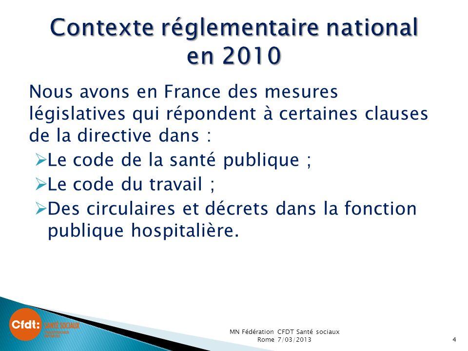 Nous avons en France des mesures législatives qui répondent à certaines clauses de la directive dans : Le code de la santé publique ; Le code du travail ; Des circulaires et décrets dans la fonction publique hospitalière.