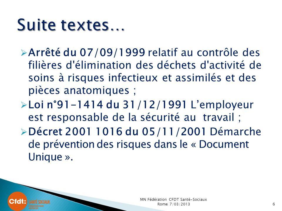 Arrêté du 07/09/1999 relatif au contrôle des filières d'élimination des déchets d'activité de soins à risques infectieux et assimilés et des pièces an