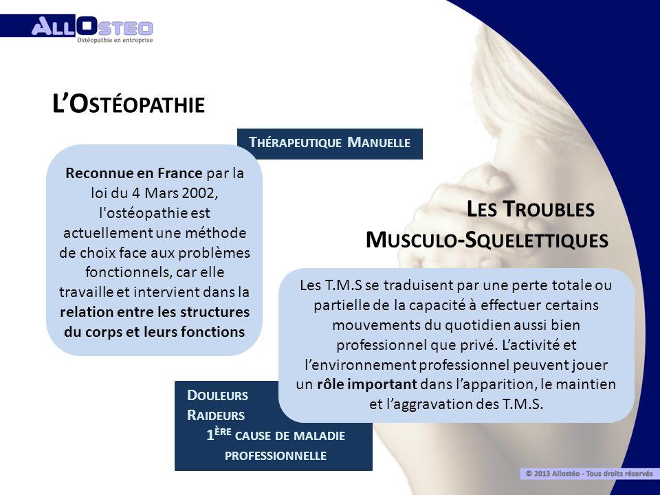 Reconnue en France par la loi du 4 Mars 2002, l'ostéopathie est actuellement une méthode de choix face aux problèmes fonctionnels, car elle travaille