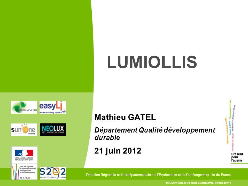 3 29 mars 2012 3 Lumiollis, une expérience novatrice La DRIEA mène en partenariat avec le pôle de compétitivité S2E2 une expérience novatrice sur l un de ses bâtiments.