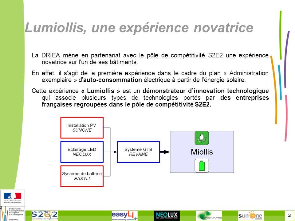 3 29 mars 2012 3 Lumiollis, une expérience novatrice La DRIEA mène en partenariat avec le pôle de compétitivité S2E2 une expérience novatrice sur l'un