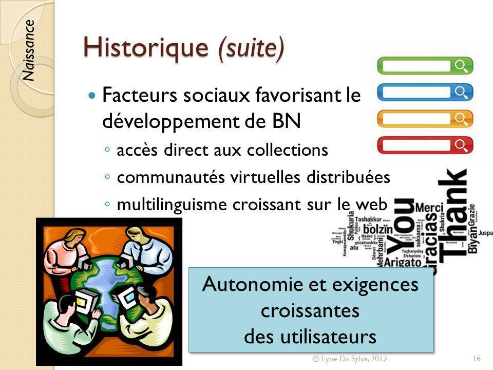 Historique (suite) Facteurs sociaux favorisant le développement de BN accès direct aux collections communautés virtuelles distribuées multilinguisme c