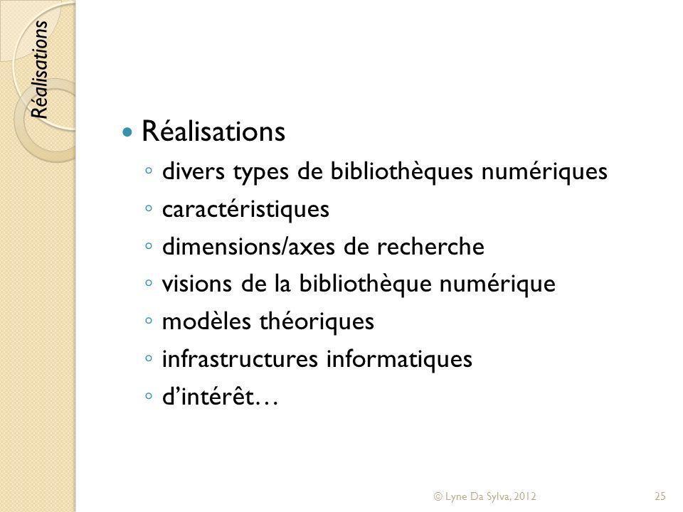 Réalisations divers types de bibliothèques numériques caractéristiques dimensions/axes de recherche visions de la bibliothèque numérique modèles théor