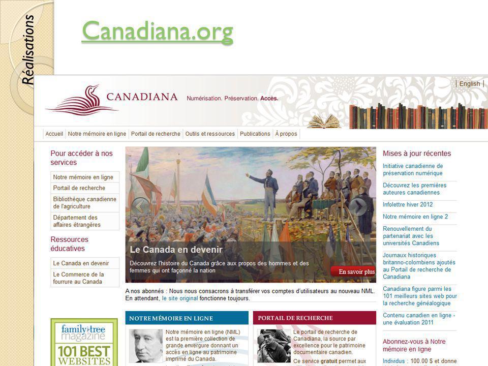 Canadiana.org © Lyne Da Sylva, 201238 Réalisations