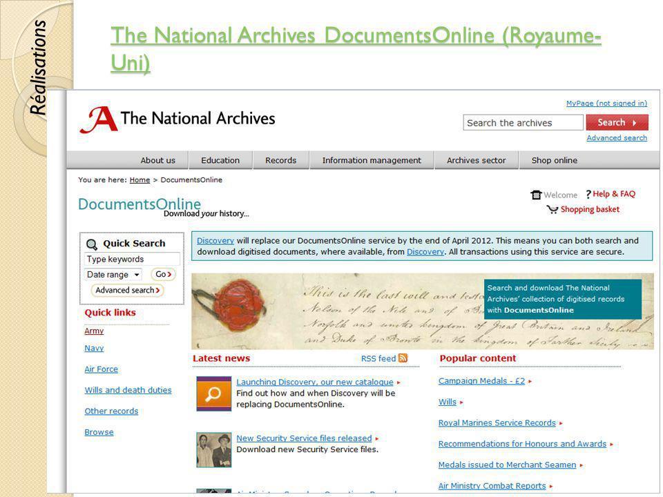 The National Archives DocumentsOnline (Royaume- Uni) The National Archives DocumentsOnline (Royaume- Uni) © Lyne Da Sylva, 201239 Réalisations