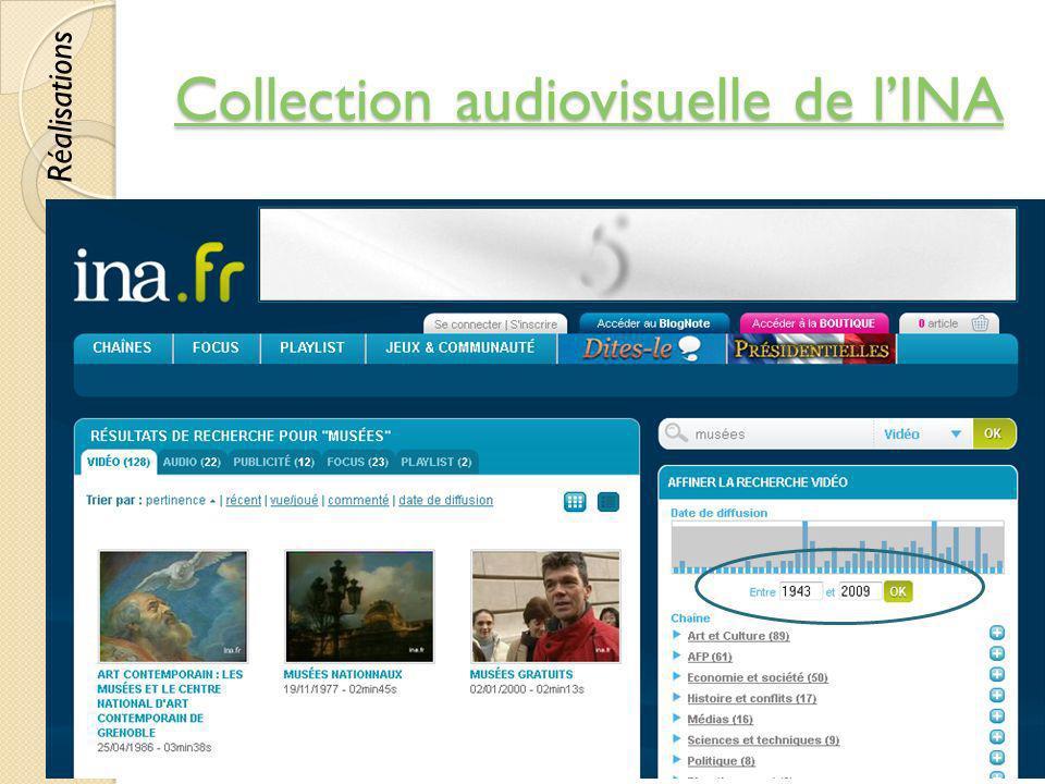 Collection audiovisuelle de lINA Collection audiovisuelle de lINA © Lyne Da Sylva, 201259 Réalisations