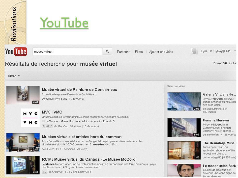 YouTube © Lyne Da Sylva, 201260 Réalisations