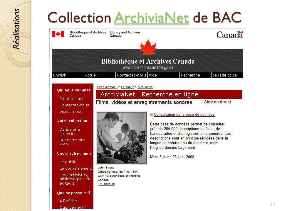 Collection ArchiviaNet de BAC ArchiviaNet © Lyne Da Sylva, 201267 Réalisations