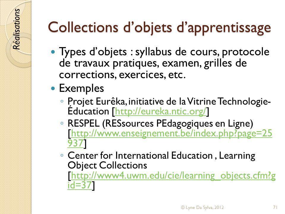 Collections dobjets dapprentissage Types dobjets : syllabus de cours, protocole de travaux pratiques, examen, grilles de corrections, exercices, etc.