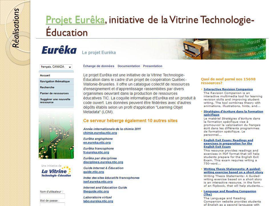 Projet EurêkaProjet Eurêka, initiative de la Vitrine Technologie- Éducation Projet Eurêka © Lyne Da Sylva, 201272 Réalisations