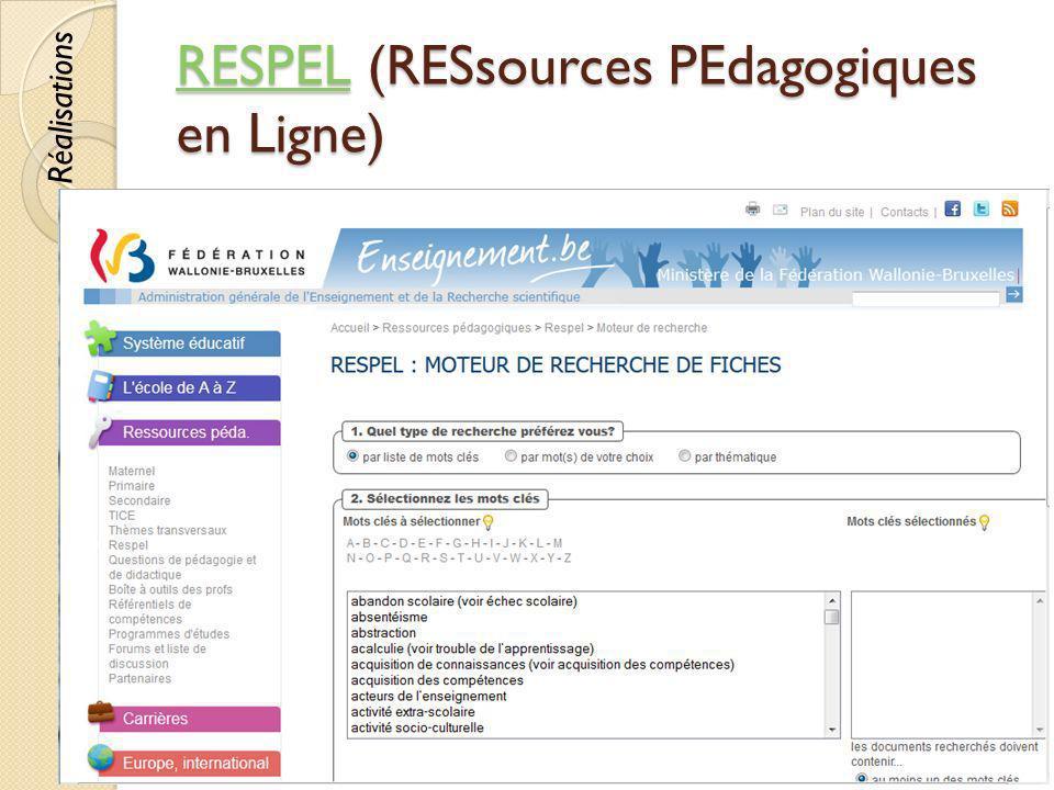 RESPELRESPEL (RESsources PEdagogiques en Ligne) RESPEL © Lyne Da Sylva, 201273 Réalisations