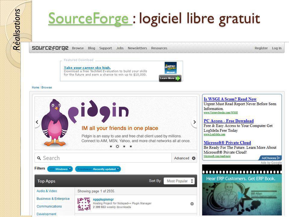 SourceForge SourceForge : logiciel libre gratuit SourceForge © Lyne Da Sylva, 201276 Réalisations