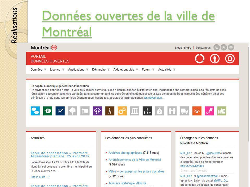 Données ouvertes de la ville de Montréal Données ouvertes de la ville de Montréal © Lyne Da Sylva, 201279 Réalisations