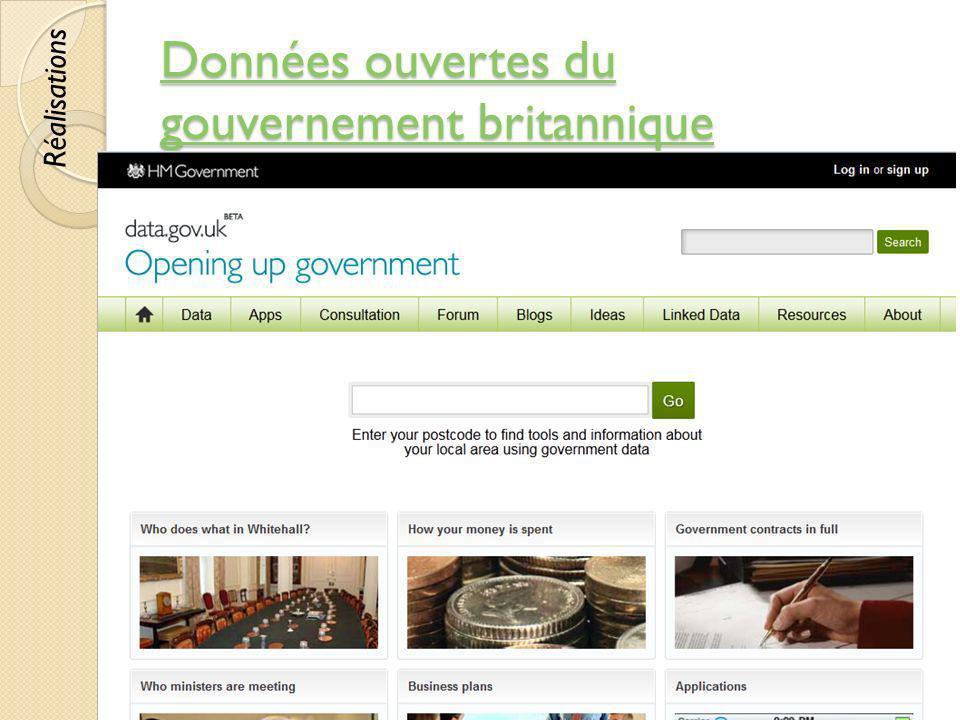 Données ouvertes du gouvernement britannique Données ouvertes du gouvernement britannique © Lyne Da Sylva, 201280 Réalisations