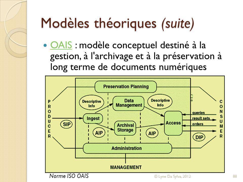 Modèles théoriques (suite) OAIS : modèle conceptuel destiné à la gestion, à l'archivage et à la préservation à long terme de documents numériques OAIS