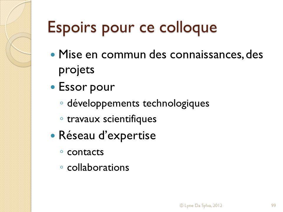 Espoirs pour ce colloque Mise en commun des connaissances, des projets Essor pour développements technologiques travaux scientifiques Réseau dexpertis