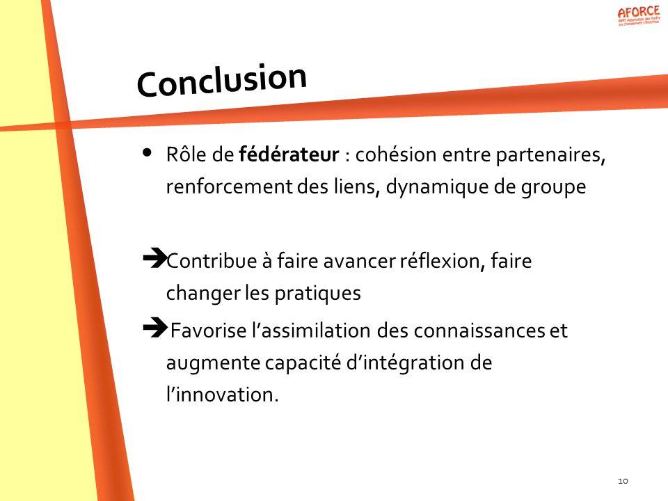 10 Rôle de fédérateur : cohésion entre partenaires, renforcement des liens, dynamique de groupe Contribue à faire avancer réflexion, faire changer les