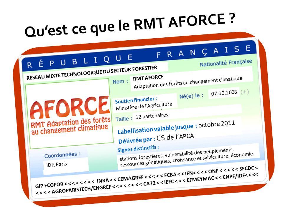 2 12 partenaires 07.10.2008 RMT AFORCE Adaptation des forêts au changement climatique IDF, Paris stations forestières, vulnérabilité des peuplements,