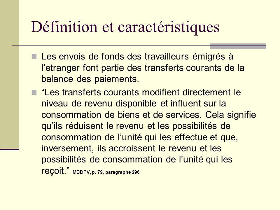 Définition et caractéristiques Les envois de fonds des travailleurs émigrés à letranger font partie des transferts courants de la balance des paiement