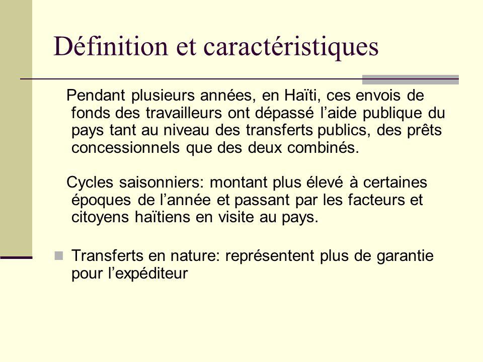 Définition et caractéristiques Pendant plusieurs années, en Haïti, ces envois de fonds des travailleurs ont dépassé laide publique du pays tant au niveau des transferts publics, des prêts concessionnels que des deux combinés.