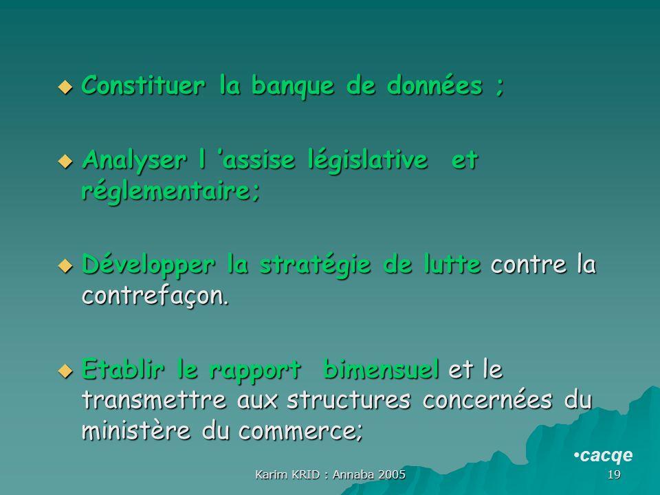 Karim KRID : Annaba 2005 19 Constituer la banque de données ; Constituer la banque de données ; Analyser l assise législative et réglementaire; Analys
