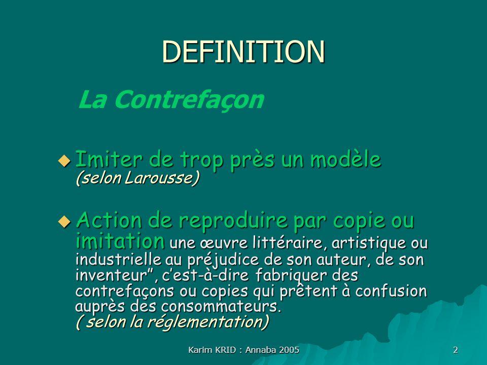 Karim KRID : Annaba 2005 2 DEFINITION Imiter de trop près un modèle (selon Larousse) Imiter de trop près un modèle (selon Larousse) Action de reprodui