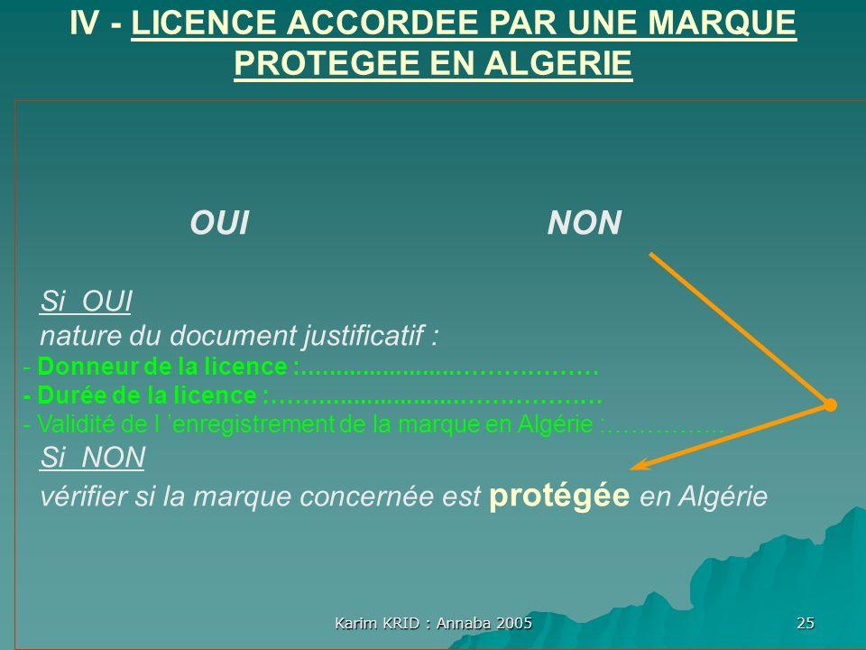 Karim KRID : Annaba 2005 25 OUI NON Si OUI nature du document justificatif : - Donneur de la licence :.......................……………… - Durée de la lice