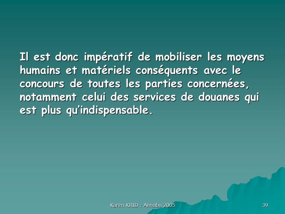 Karim KRID : Annaba 2005 39 Il est donc impératif de mobiliser les moyens humains et matériels conséquents avec le concours de toutes les parties conc