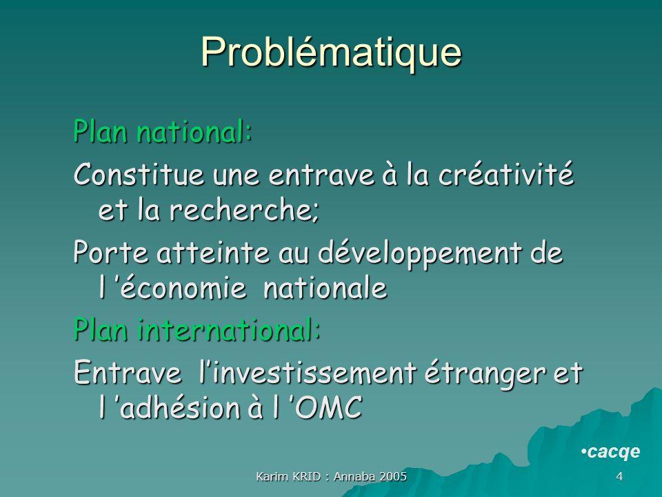 Karim KRID : Annaba 2005 4 Problématique Plan national: Constitue une entrave à la créativité et la recherche; Porte atteinte au développement de l éc