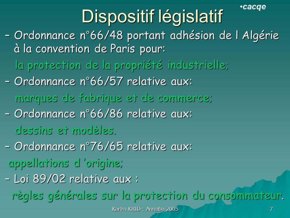 Karim KRID : Annaba 2005 7 Dispositif législatif –Ordonnance n°66/48 portant adhésion de l Algérie à la convention de Paris pour: la protection de la