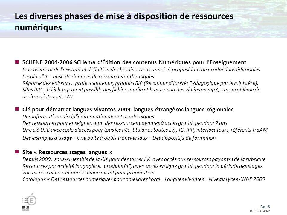 Page 3 DGESCO A3-2 Page 3 Les diverses phases de mise à disposition de ressources numériques SCHENE 2004-2006 SCHéma d Édition des contenus Numériques pour l Enseignement Recensement de lexistant et définition des besoins.