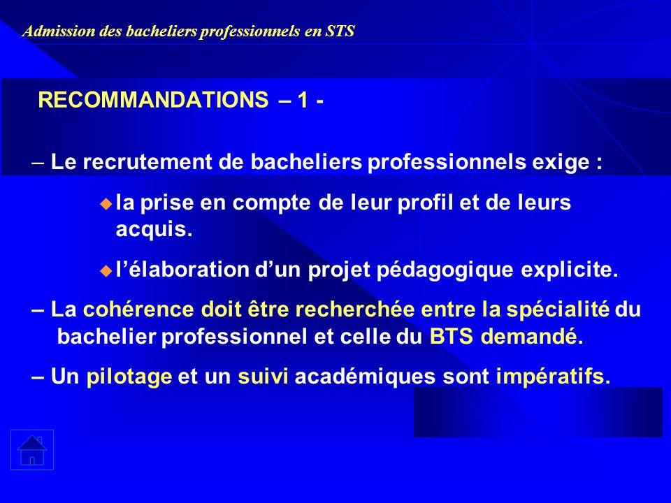 Admission des bacheliers professionnels en STS RECOMMANDATIONS – 1 - – Le recrutement de bacheliers professionnels exige : la prise en compte de leur